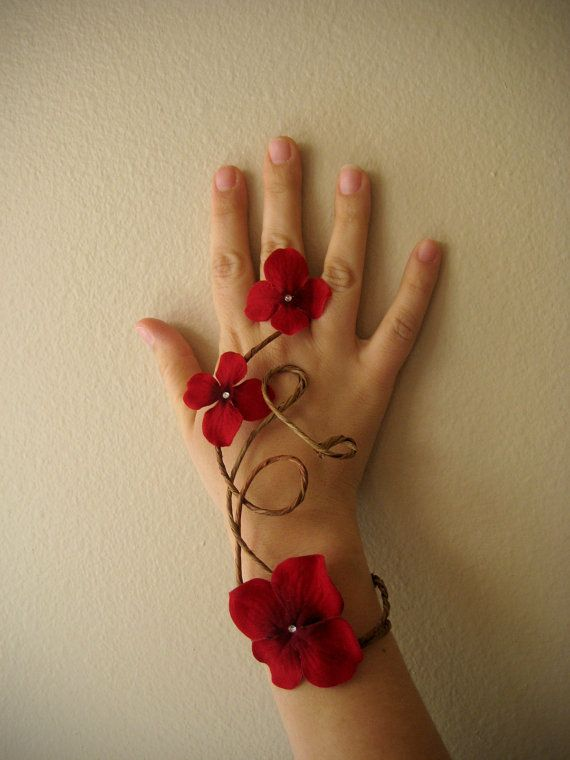 Red Floral Slave Bracelet  Woodland Wedding by Frecklesfairychest, $20.00