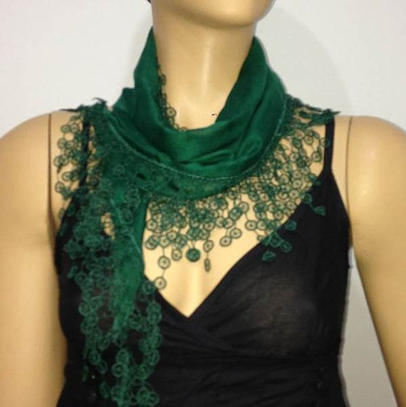 EMERALD Green Scarf  with  lace fringe edge  by istanbuloya, $15.00
