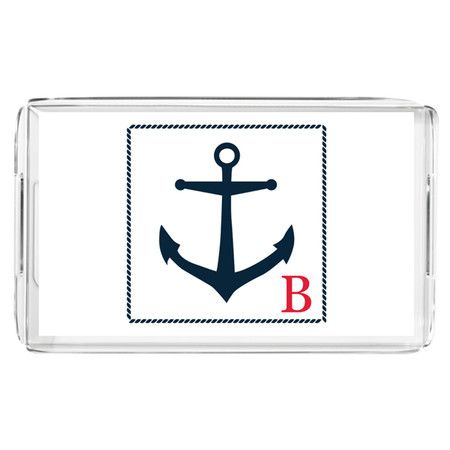 Monogrammed lucite tray with an anchor motif.  Product: TrayConstruction Material: LuciteColor: ...