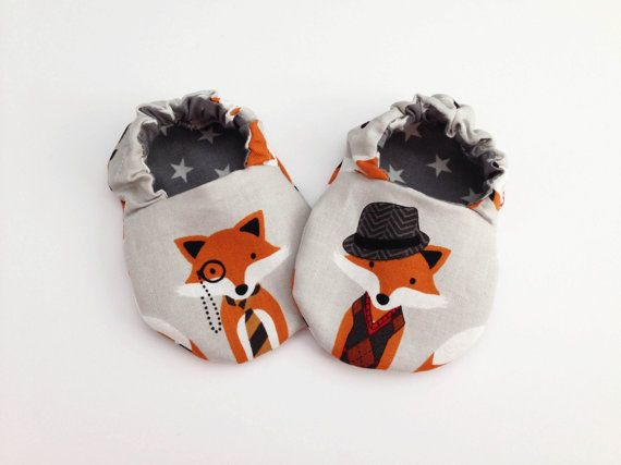 Mr fox adorable fabric baby booties shoes by JennyWrenCraft