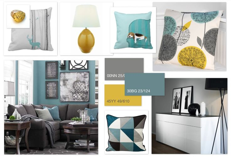 Grey, Teal & Ochre scheme for a family living room.                                                                               More