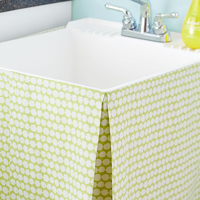 utility sink skirt, laundry room makeover
