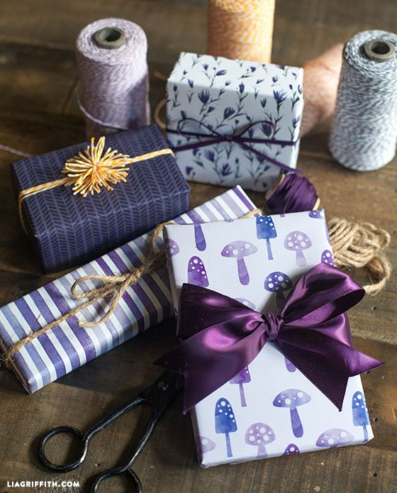 Printable Fall Gift Wrap in Plum and Pumpkin Colors. Free printable @LiaGriffith.com