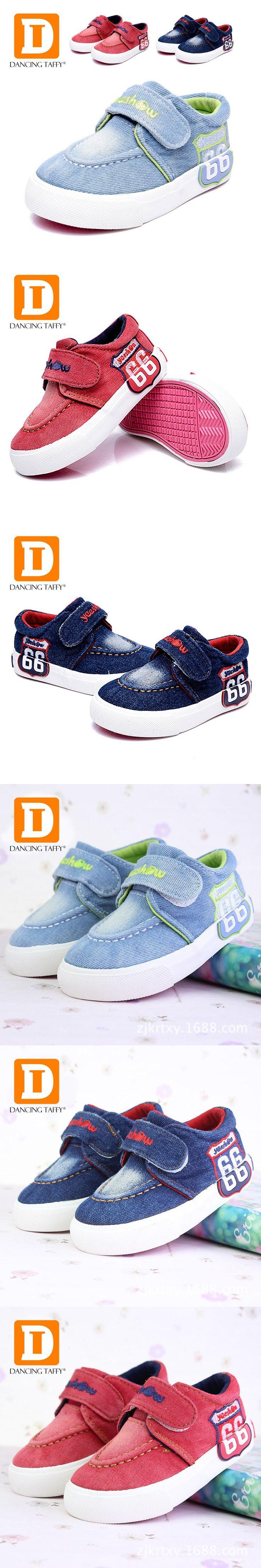 Solid Canvas Fashion Kids Shoes New 2016 Brand Board Girls Boys Sneakers Denim Baby Footwear Rubber Hook Loop Children Shoes