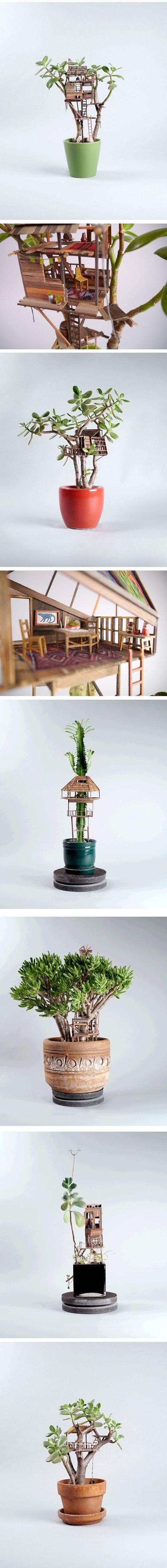 Miniature Tree Houses Make Houseplants Way More Interesting