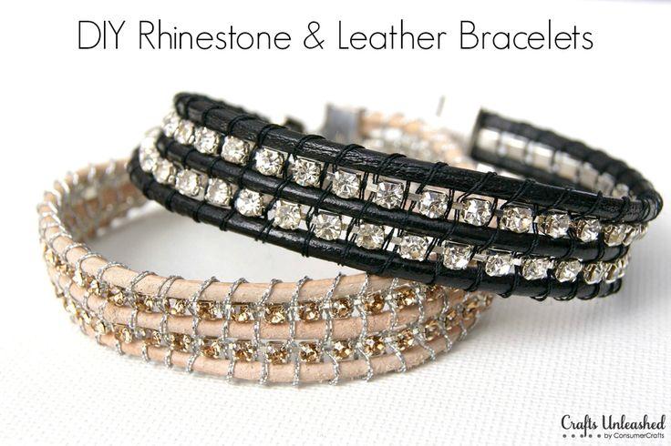 DIY Rhinestone and Leather Bracelet Tutorial - CraftsUnleashed.com