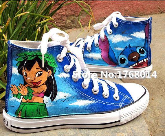 Scarpe anime lilo stitch dipinto a mano blu scarpe moda uomo donna high-top traspirante appartamenti tela casual studente ragazzo ragazza