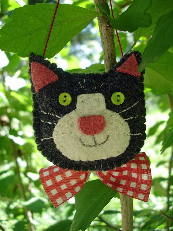 MTO HandStitched Felt Cat Christmas Ornament by MyDisgustedCats, $10.00