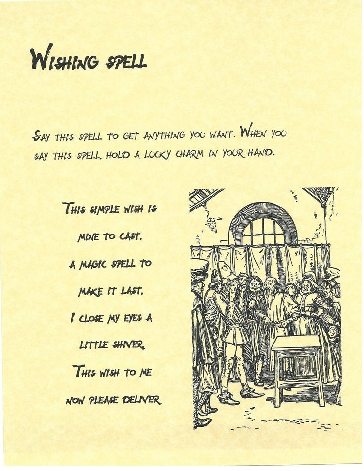 Book of Shadows Spell Pages ** Wishing Spell ** Wicca Witchcraft BOS FOR SALE • $2.96 • See Photos! Money Back Guarantee. This is the Wishing Spell. Witchcraft chant to really put a little positive energy behind your wishes. Do YOU know how to make a wish? Please note: I combine shipping!!! 231752568705