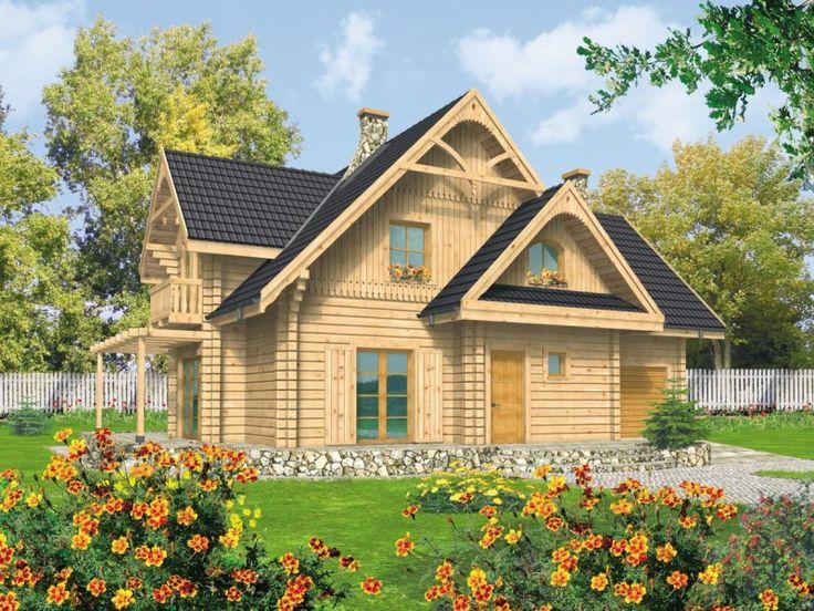 Dom parterowy z poddaszem użytkowym, niepodpiwniczony, przeznaczony dla 3-4-osobowej rodziny.Projekt świetnie nadaje się na dom letniskowy, ponieważ kominek zaplanowano tak, aby mógł być jedynym źródłem ogrzewania.