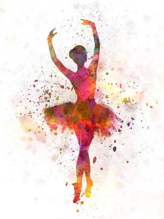 Woman ballerina ballet dancer dancing 10 by Paulrommer on Etsy. Watercolor ballerina.