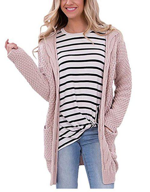 Moludoya Women s Long Sleeve Open Front Outwear Chunky Pullover Knit  Cardigan Sweater d14509a545d9