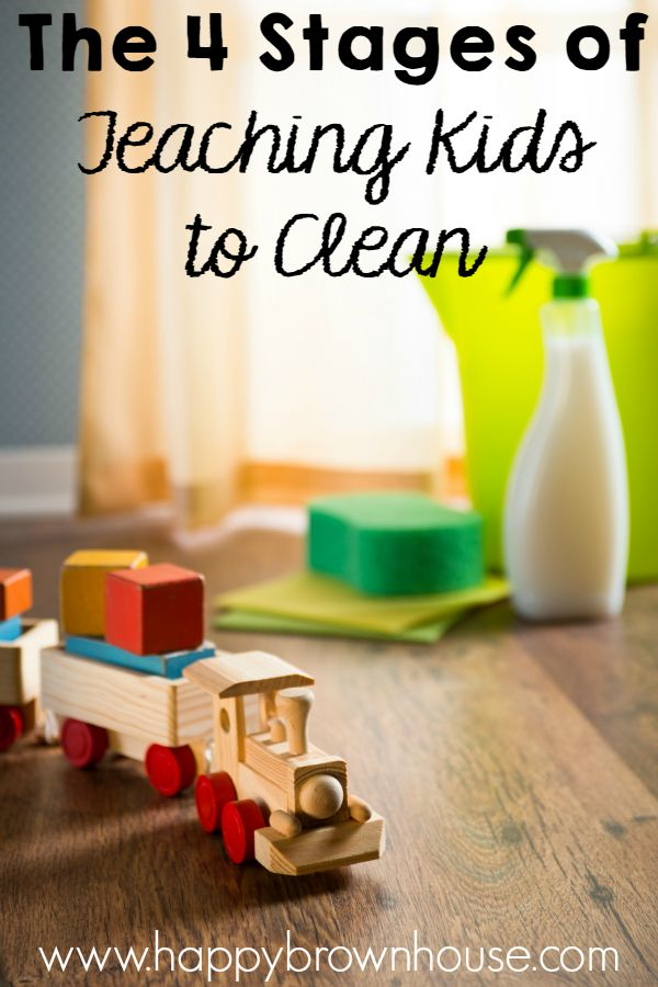 Are you struggling to get your kids to clean? Use these 4 Stages to Teaching Kids to Clean to get your kid's chore list finished and ingrained in their character...because cleaning is a part of life