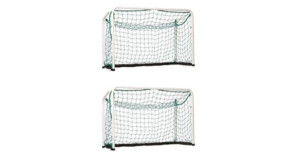 Innebandymål. Pakke med2 stykk sammenleggbare innebandymål av stålrør som kan brukes inne og ute. Størrelse: 60 x 90 cmLeveres komplett med nett.