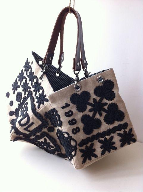 crochet motif embroidery bag