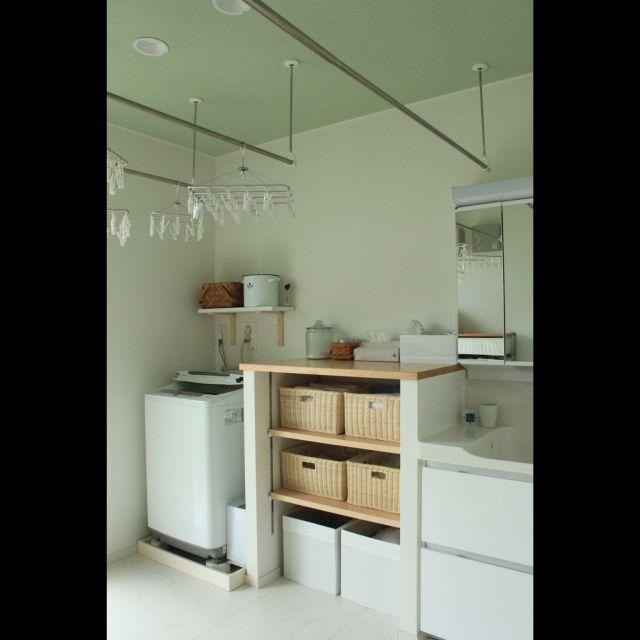 mekichinさんの、バス/トイレ,無印良品,IKEA,家事室,造作棚,北欧ナチュラル,シンデレラフィット,天井アクセントクロス,のお部屋写真