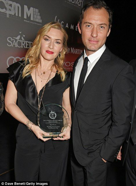 Kate Winslet is reunited with old acting pal Jude Law  They played siblings in the beloved 2006 romantic-comedy The Holiday.  And Jude Law certainly looked like a proud older brother when he handed acting pal Kate Winslet a special recognition award at theLondon Film Critics Circle Awards 2018 on Sunday night.  The 42-year-old actress was receivingThe Dilys Powell Award for Excellence in Film when she was greeted by her 45-year-old acting counterpart on the stage.  Scroll down for video…