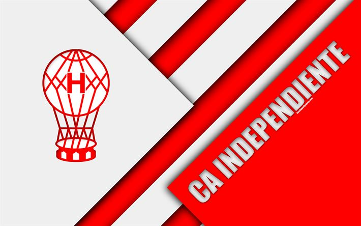 Download wallpapers CA Huracan, Argentine football club, 4k, material design, red white abstraction, Buenos Aires, Argentina, football, Argentine Superleague, First Division