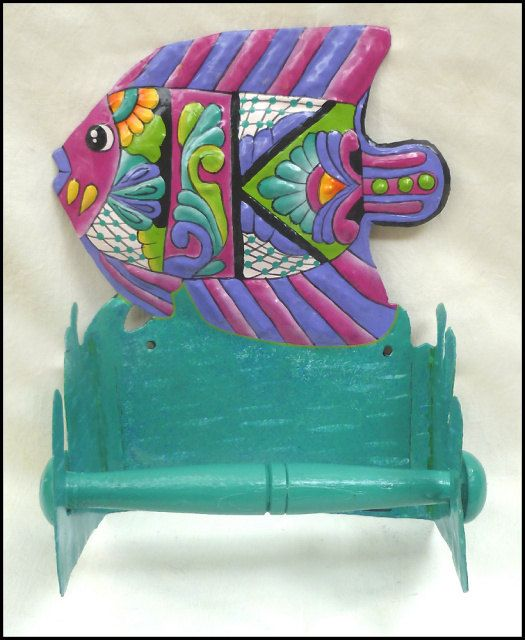 Toilet Paper Holder Hand Painted Metal Pink Purple Tropical Fish Tropical Bathroom Decor