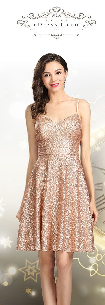Sequin Gold Party Cocktail Evening Dress #eDressit