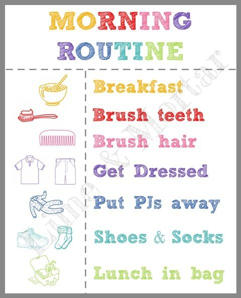 FREE: Back To School: Morning Routine Printable