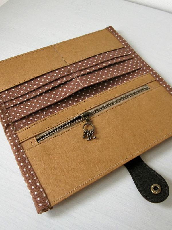 artchala.handmade: Washable Kraft Paper Fabric Bi-fold Long Wallet 水洗牛皮纸长夹