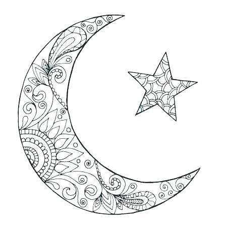 Half Moon Coloring Pages Moon Coloring Page Crescent Moon
