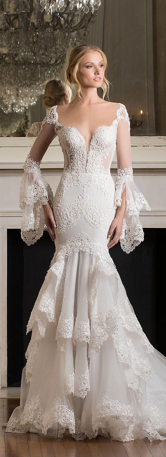 Luxe Romantic Bohemian Chic |   Pnina Tornai Wedding Dress | Dimensions Collection