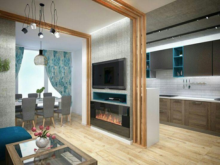 Небольшая гостиная, совмещенная с кухней в современном стиле