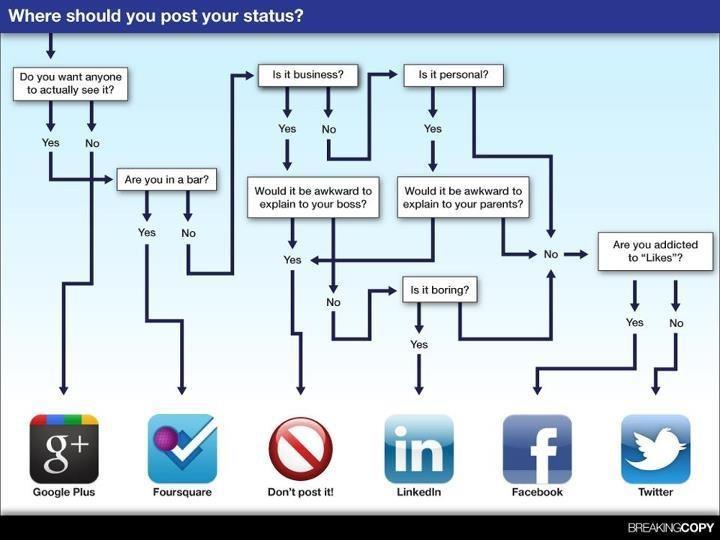 Infográfico sobre qual rede postar.