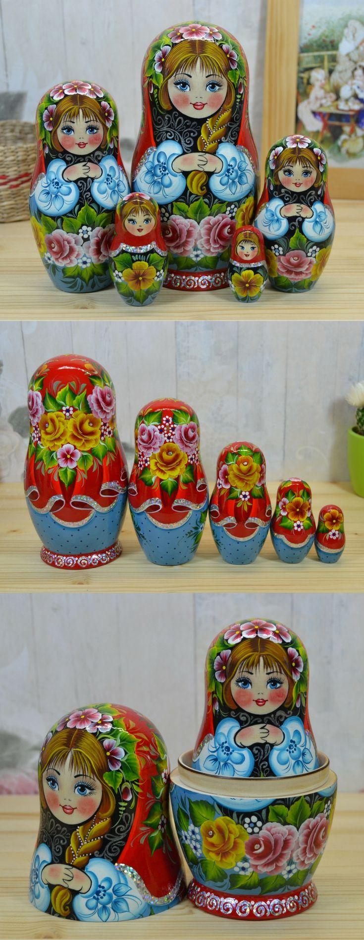 Babushka doll hand painted by artist Valentina Partanen, more lovely russian nesting dolls at: www.bestrussiandolls.etsy.com