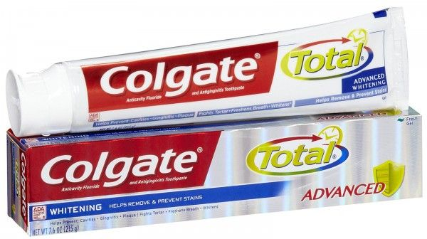 The chemical Triclosan is commonly used as an antibacterial agent in household cleaning products.  https://alldayprotect.com/cancer-causing-chemical-found-in-colgate-total-toothpaste/