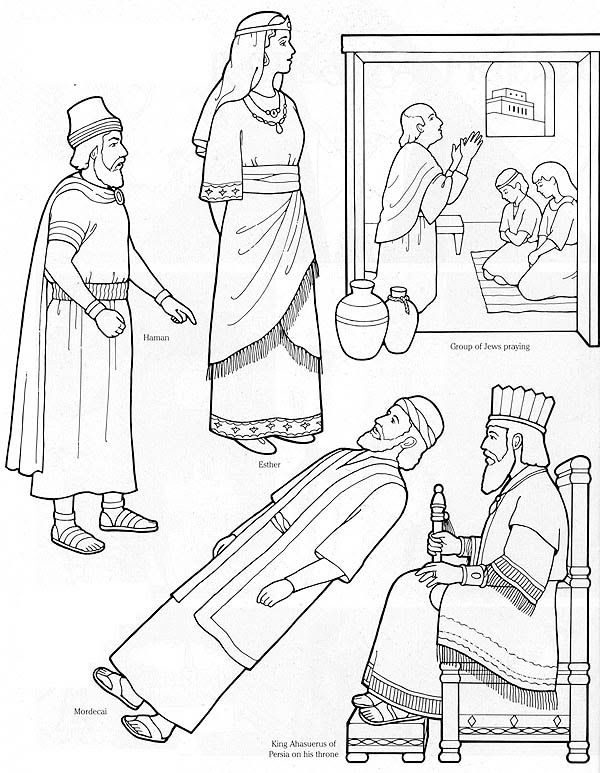 queen esther flannel board figures or coloring page