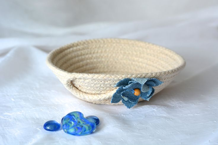 Cute Desk Accessory Bowl, Handmade Rope Basket, Modern Clothesline Basket… by Wexford Treasures....