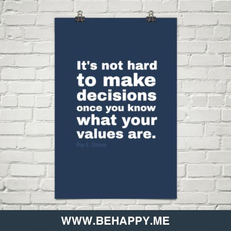 Know your values, make decisions by Roy E. Disney #30313