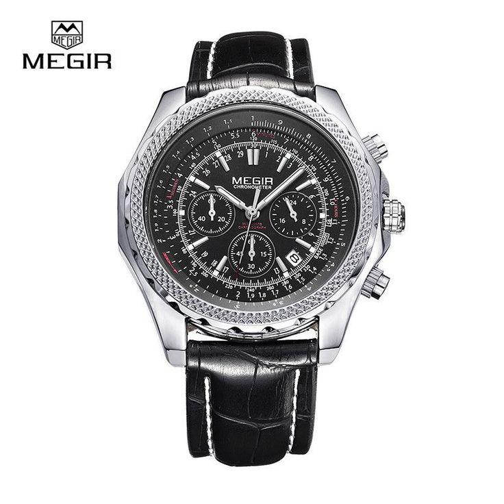 Megir fashion casual stop watches for men luminous running brand watch for man leather quartz watch male