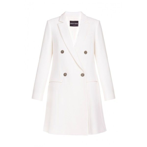 Emporio Armani Long Coat ($617) ❤ liked on Polyvore featuring outerwear, coats, a-line coat, white woolen coat, woolen coat, long coat and fitted wool coat