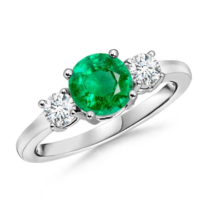 Angara Round Natural Emerald Curved Shank Ring in 14k White Gold MsiNMnPPz