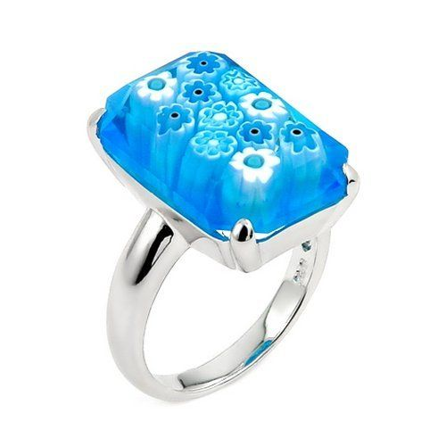 Millefiori Faceted Light Blue Small Rectangular Shape Ring Millefiori. $41.80