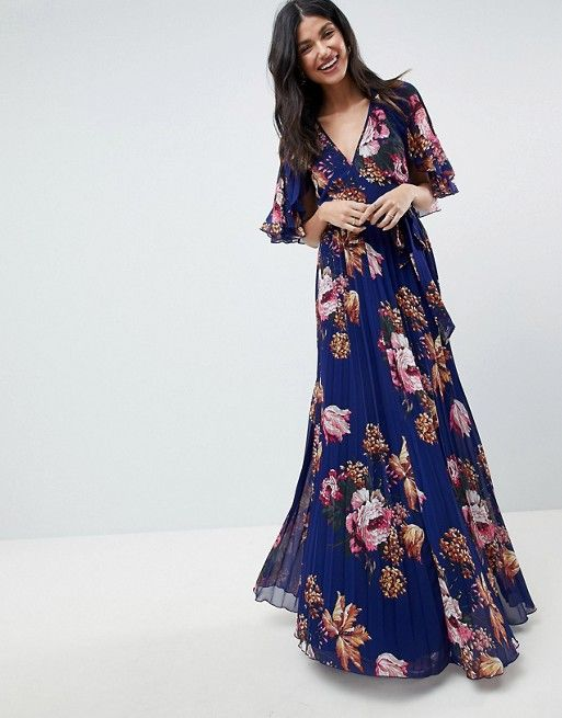 d7bc4e46a9c TALL Pleated Maxi Dress with Flutter Sleeve in Floral Print in 2019 ...