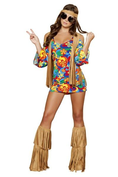 3 PC Hippie Hottie Costume includes, Dress, Fringe Vest, and Headband. MADE IN USA. PLEASE NOTE: Due to the popularity of this item it may take an additional 4 days for processing of this item. 2 Day shipping will not expedite this only the shipping time. For more information please see our Store Policy