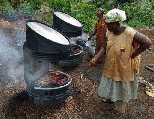SOLAR GRILL  The grill was developed by Professor David Wilson at MIT after spending time in Nigeria. The people there, particularly women, were cooking with firewood and suffering with respiratory problems from inhaling smoke daily while cooking at the fires.