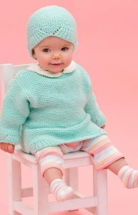 Camilla Babe Sweater & Hat Free Knitting Pattern from Red Heart Yarns