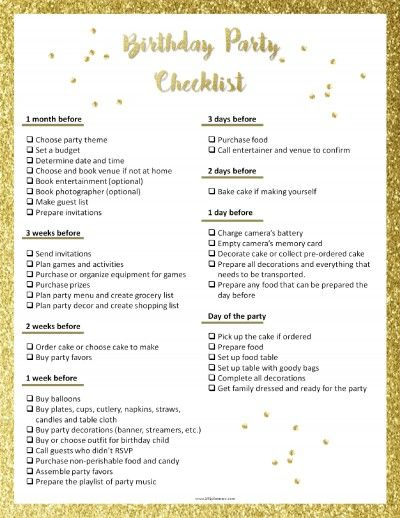 Free printable party planning checklist to ensure that you don't forget anything!