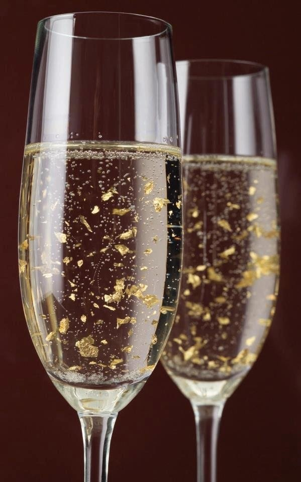 Champagne with 24 karat gold flakes