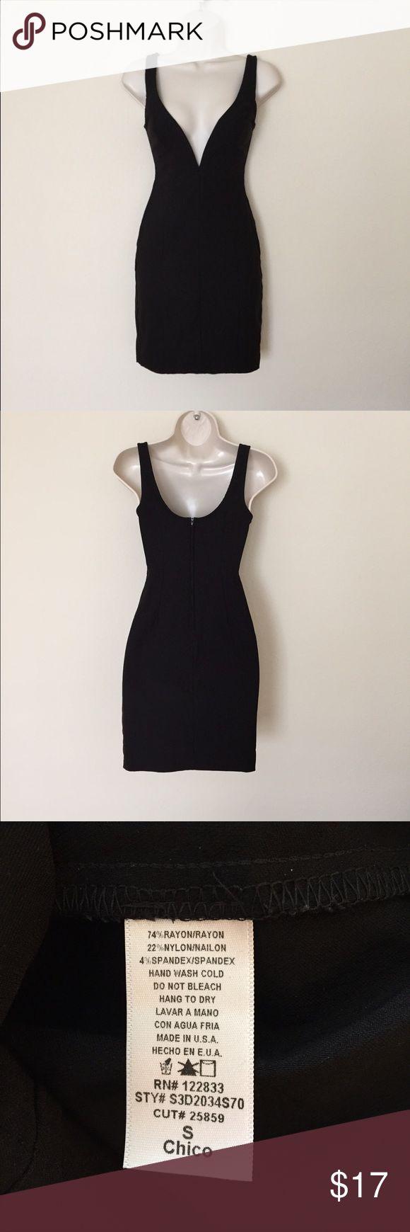 Black Plunging V Neck Dress Good condition. Hand wash Foreign Exchange Dresses Mini