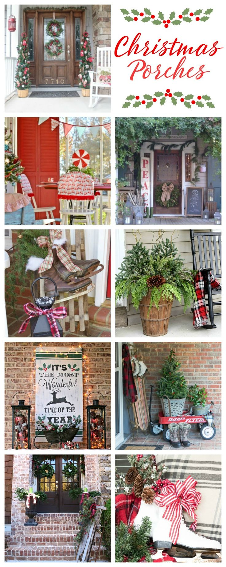 Join nine bloggers as we showcase our Christmas porches. From farmhouse to French country to vintage to lodge style, you're sure to find something to inspire you.