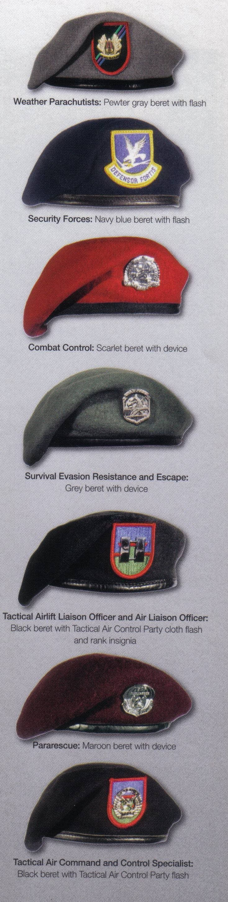 Decoding Those United States Air Force Berets: CCT/STO – Scarlet PJ/CRO – Maroon TACP/ALO – Black Weather Parachutists – Grey Security Force – Blue SERE Specialists – Sage Green Not shown is a Sky Blue beret worn by cadets at the US Air Force Academy while BCT introduction to first year cadets.