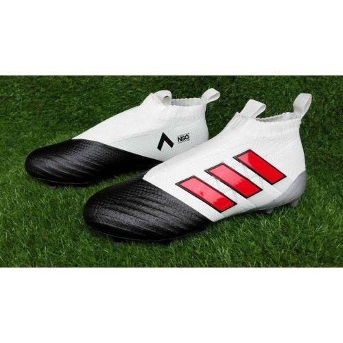 Adidas ACE - Goedkoop Adidas ACE 17 PureControl FG Wit Rood Zwart Voetbalschoenen