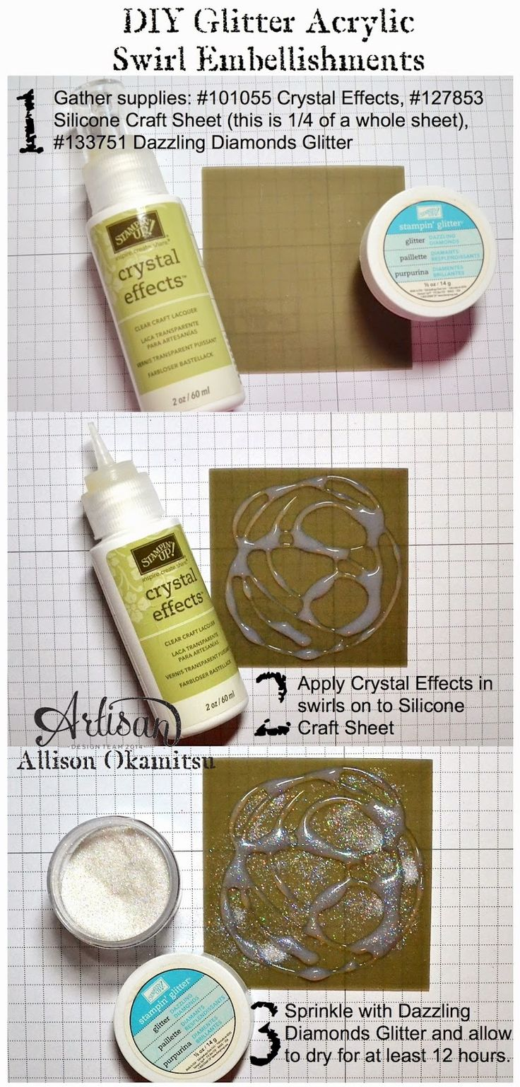 Create your own DIY Glitter Acrylic Swirl Embellishments with this easy step by step picture tutorial. - Allison Okamitsu